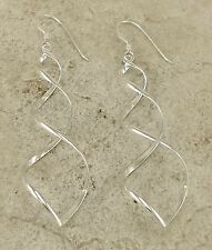 PRETTY 925 STERLING SILVER LONG SPIRAL DANGLING EARRINGS  style# e1001
