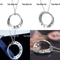Love Circle Heart Engraved Silver Necklace Gifts for Her Birthday Christmas E5