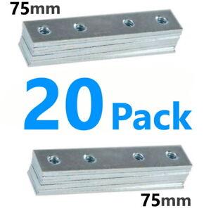 20x Steel Mending Fixing Plate Flat Brackets Straight Repair Braces Joining 75mm