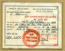 Vietnam Car Owner Certificate 1994 GIAY CHUNG NHAN CHU QUYEN XE THO SO