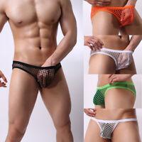 Hot Sexy Mens Mesh Sheer See Through Underwear Boxer Briefs Sheer Mesh Thongs LB