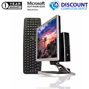 """HP 8000 Windows 10 Slim Desktop PC Intel C2D 3.0GHz 4GB 250GB 19"""" LCD W/ Stand"""