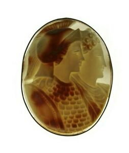 Antique Shell Cameo Brooch, Ares and Aphrodite Large Unique Carved 2 Figure
