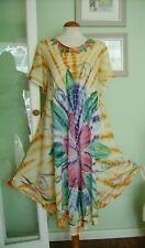 VINTAGE LOOK TIE DYE HIPPY BOHO SMOCK DRESS ONE SIZE 70'S/INDIAN/KAFTAN/FOLK/