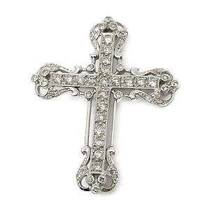 Jewelry Brooch Pin  Cross Diamond 1.04ct White Gold 1807946
