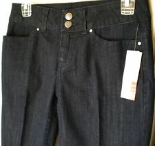 Elle Dark Wash Classic Boot Cut Denim Cotton Blend 31.5 Trouser Jean. Sz 2