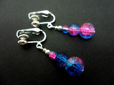 A PAIR OF PINK & BLUE CRACKLE GLASS BEAD  CLIP ON EARRINGS. NEW.