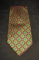 Polo by Ralph Lauren 100% Silk Necktie Hand Made in US Navy Blue Green Dots Gold