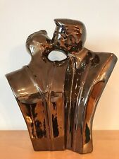 Rare Lindsey B. Balkweil Style 1980s Kissing Couple Ceramic Platinum glaze Bust