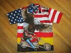 PATRIOTIC BIKER CLUB SHIRT Chopper Motorcycle Eagle American Flag Stars Stripe M