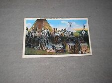 Old 1930s Indian Chiefs Pow-Wow in the Northwest Linen Postcard Spokane Wa