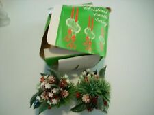 Vintage 1970s Taper Candle Wreaths Corsages Pine Cones Holly Berries Greenery
