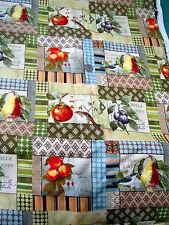 Pretty Birds & Fruit Quilt Squares Cotton Fabric