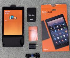 AMAZON KINDLE FIRE HD 10 TABLET 32GB (7th GENERATION) BLACK ACCESSORIES + BOX