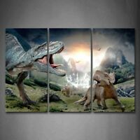 Framed Dinosaur Wall Art Canvas Print Artwork Animal Pictures Child Room Decor