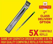 QUALITY 5 X PARKER COMPATIBLE BROAD REFILLS FOR BALLPOINT MEDIUM  GREEN COLOUR
