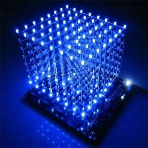 3D Squared DIY Kit 8x8x8 3mm LED Cube White LED Blue Light PCB Board 4.5~5.5V