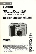 Originale Bedienungsanleitung Canon Power Shot G6 Deutsch 208 Seiten manual
