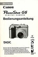 Originale Bedienungsanleitung Canon Power Shot G6 Deutsch 208 Seiten manual