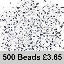 500 White Alphabet Beads 6mm Cube Mixed Letters. Great Mix