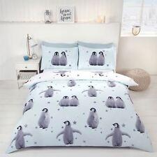 NOËL Bébé Pingouin étoiles Mélange de coton bleu Housse de couette King-size