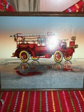 "Signed H. Hargrove 24x20""  Oil Painting Of Antique Hook & Ladder Red Fire Engine"