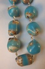 CHICO'S Cream & Turquoise Shell Aileen Single Strand Chunky Necklace Beach