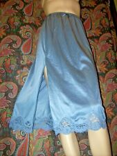 Vintage Adonna Blue Nylon Lacy Slit Half Slip S