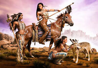 Native American Indian Warrior Women Woman Wolf Tribal Horse Canvas Print