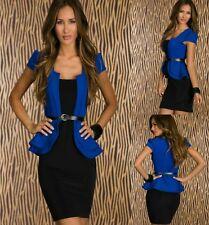Blue Black Peplum Cap Sleeves Cocktail Party Dance Formal Dress Sz M 10 12