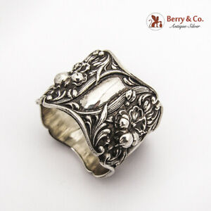 Art Nouveau Floral Double Wall Napkin Ring Sterling Silver