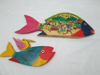 Mexican Folk Art 2 Large Colorful Hand Painted Fish Wall Hanging Décor 2 Sided
