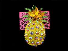 Pineapple Fruit Charm Women's Brooch Pin Betsey Johnson Yellow Bling Ab Crystal