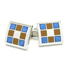 Brown & Blue Squares CUFFLINKS Formal Smart Occasion Cruise Birthday Present
