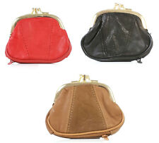 Ladies Soft Leather Double Clip Twist Top Coin Purse With Bottom Zip Pocket 1486 Black