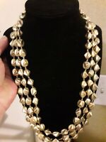 Chicos Metallic Gold Multi-strand Bead Necklace Signed