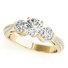 14K Yellow Gold Size 5.5 6 7 Solitaire 1.63 Ct Round Cut Diamond Engagement Ring