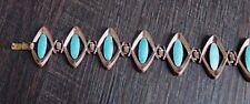 Vintage Matisse Copper Turquoise Enamel Retro Wide Link Bracelet