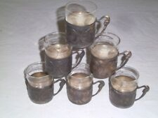Set of SIX Vintage Judaic Silver and Glass Teacups made in Israel