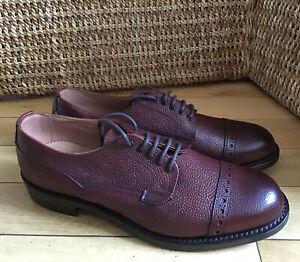 Men's - Cheaney - Amis D - Burgundy Grain Leather Top Cap Derby Shoes - UK 8