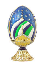 Decorative Faberge Egg with Russian Church 3.2'' (8 cm) blue