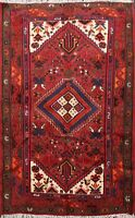 Traditional Geometric Hamedan Hand-knotted Area Rug Wool Oriental Carpet 4x5 ft