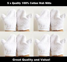 8 x Hotel/ Spa Quality Glove Shaped Wash Mitts, 100% Cotton,360gsm