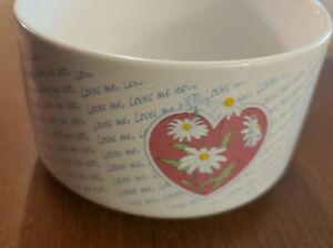 Vintage Napco National Potteries Love me, Love me not w Heart & Daisies Bowl