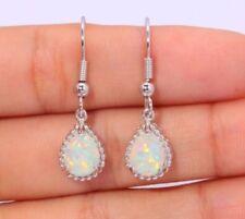 Silver Plated White Fire Opal Stone Drop Dangle Hook Earrings