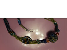 Tibetan Nepalese Natural Stone Bead Necklace w/ large focal bead
