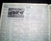 Whirlaway BELMONT STAKES Thoroughbred Horse Racing Triple Crown 1941 Newspaper