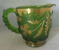 U.S. Glass Delaware 10 oz Emerald Green Creamer w/ Gold Accent trim