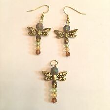 WHIMSICAL DRAGON FLY EARRINGS & PENDANT W/GOLD PLATE EAR WIRES & WINGS #149