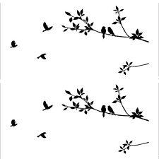 Birds Flying Black Tree Branches Wall Sticker Vinyl Art Decal Mural Home Decor E